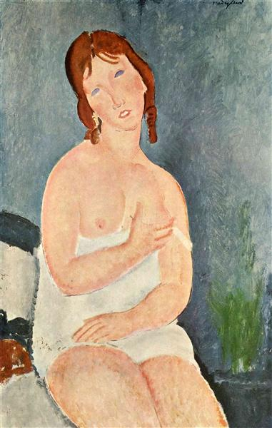 Young Woman in a Shirt (The Little Milkmaid), c.1917 - Amedeo Modigliani