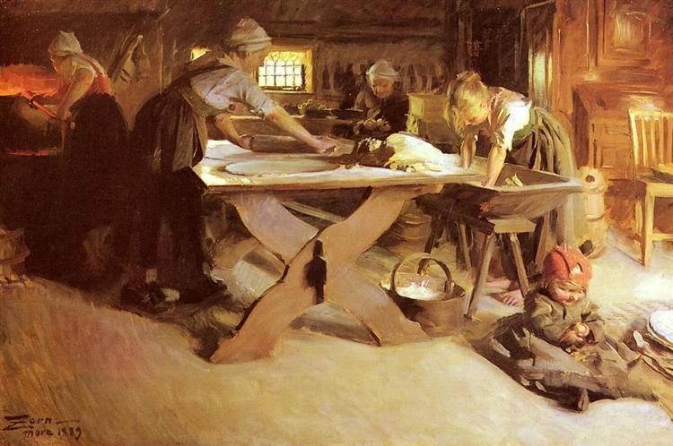 Baking the Bread, 1889 - Anders Zorn