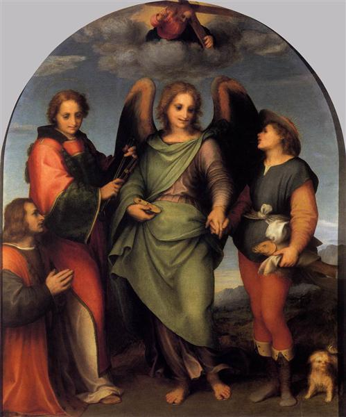 Archangel Raphael with Tobias, St. Lawrence and the Donor Leonardo di Lorenzo Morelli, 1512 - Andrea del Sarto