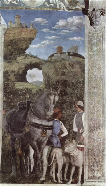 Horse and groom with hunting dogs from the camera degli for Camera picta mantegna