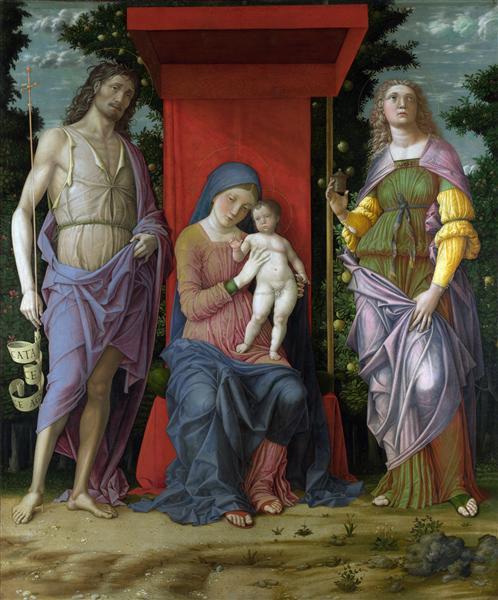 MadonnawithSt.MaryMagdalene andSt.John theBaptist, 1490 - 1506 - Andrea Mantegna