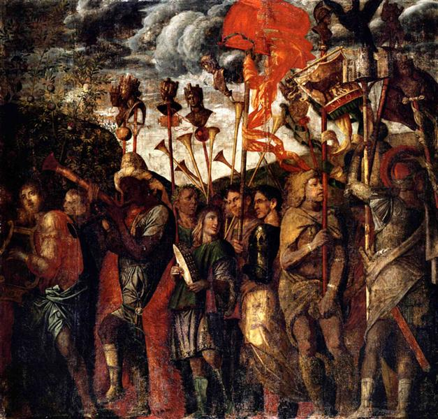 Musicians and teaches Carriers, 1490 - 1506 - Andrea Mantegna
