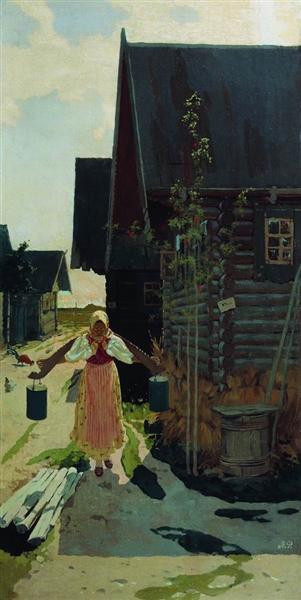 In the village. Girl with a bucket, 1898 - Андрей Рябушкин