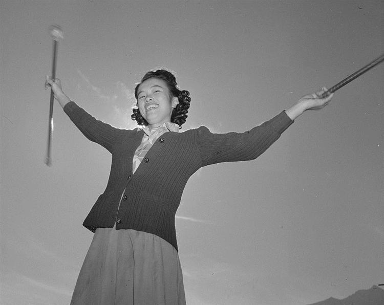 Baton practice at the Manzanar War Relocation Center - Ansel Adams