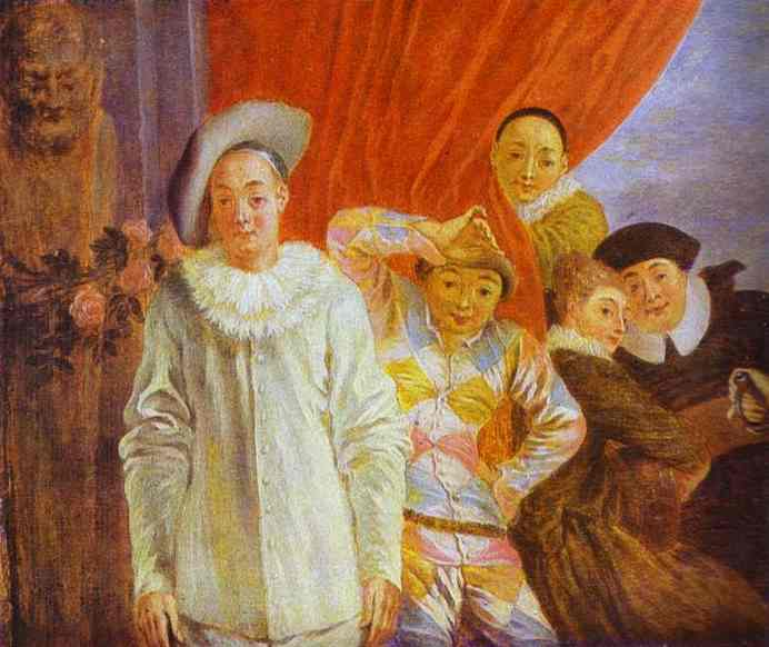 Arlequin, Pierrot and Scapin, c.1716 - Antoine Watteau - WikiArt.org
