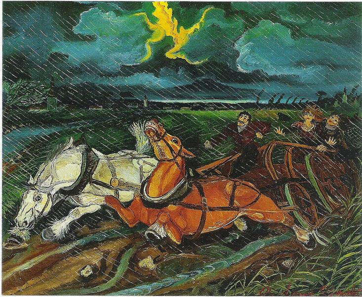 Horses with storm, 1950 - Antonio Ligabue