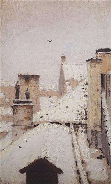 Roofs. Winter, 1876 - Archip Iwanowitsch Kuindschi