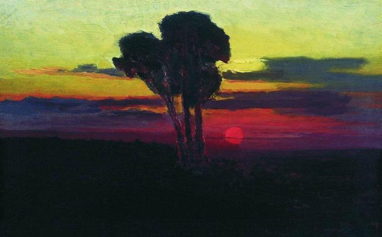 Sunset with trees - Arkhip Kuindzhi