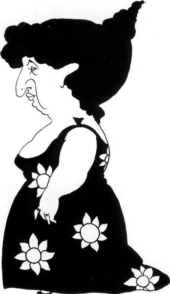 Caricature of a figure in a sunflower dress - Aubrey Beardsley
