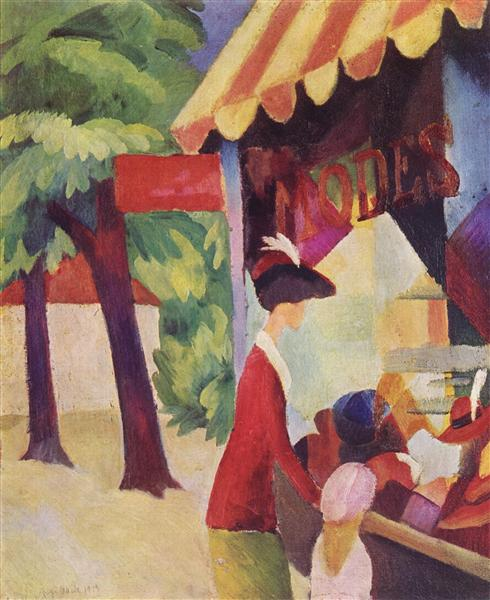 In front of the hat shop (woman with red jacket and child), 1913 - August Macke