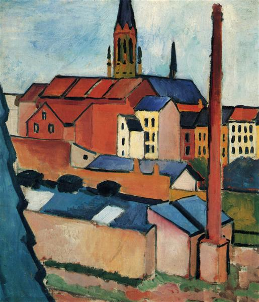 St. Mary's with Houses and Chimney (Bonn), 1911 - August Macke