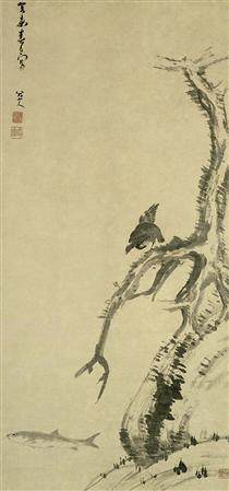 Mynah Bird on an Old Tree - Bada Shanren