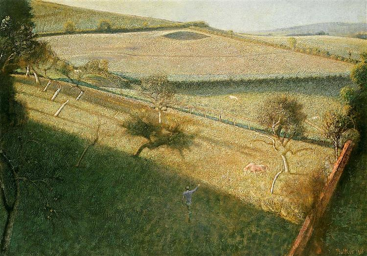 Great landscape with trees (The triangular field), 1955 - Balthus