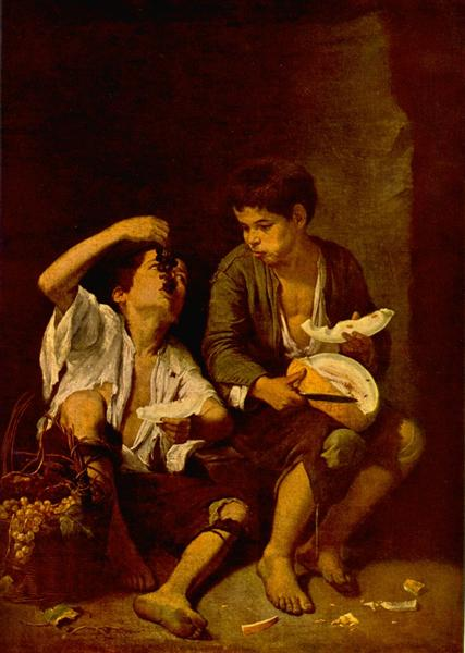 Two Children Eating a Melon and Grapes - Bartolome Esteban Murillo