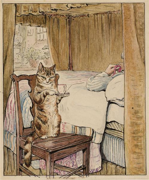 Simpkin at the Tailor's Bedside, 1902 - Beatrix Potter