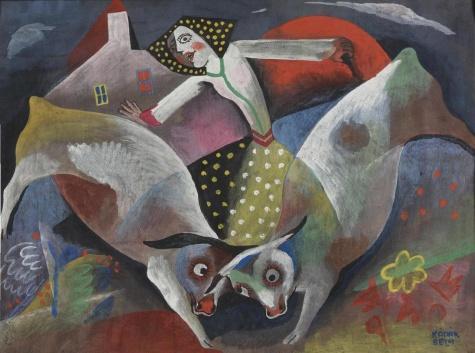 Milkmaid with cows, 1938 - Bela Kadar