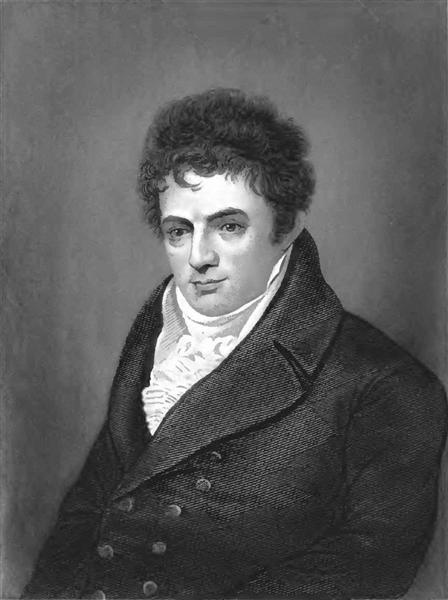 Portrait engraving of Robert Fulton, steamboat innovator - Benjamin West