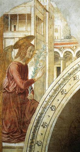 Tabernacle of the Visitation: Annunciation: the Archangel Gabriel - Benozzo Gozzoli