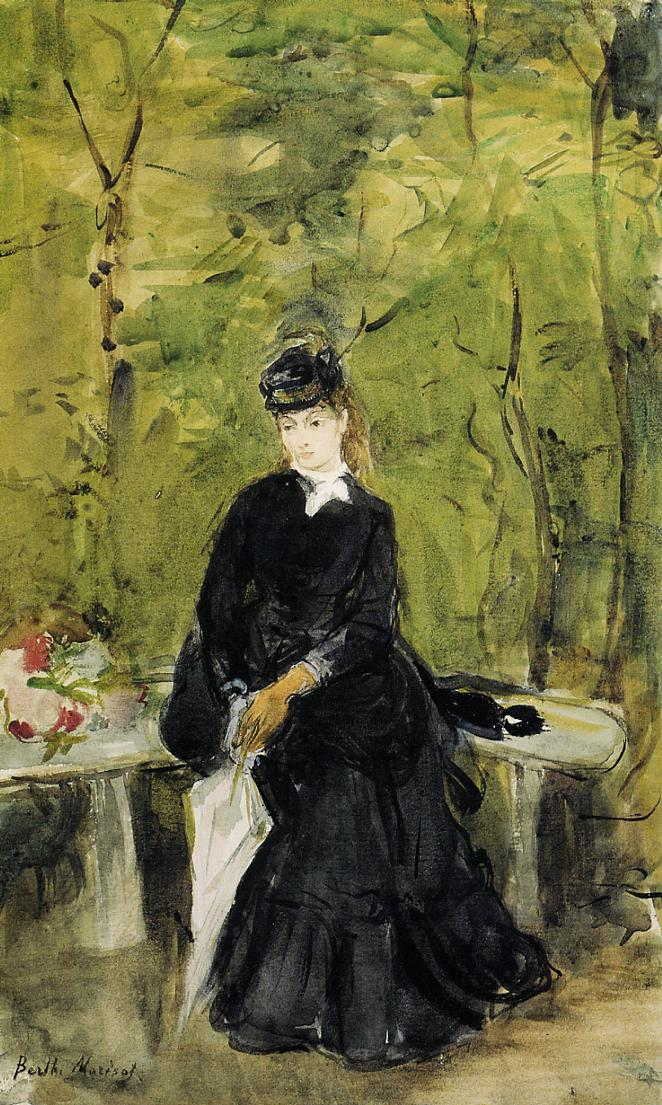 Young Lady Seated On A Bench 1864 Berthe Morisot Wikiart Org