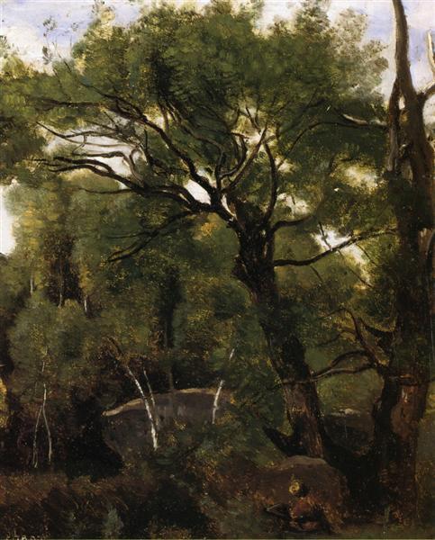 Художник, рисующий лес Фонтенбло, 1850 - 1855 - Камиль Коро