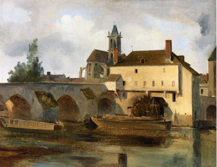 Moret sur Loing, the Bridge and the Church - Camille Corot