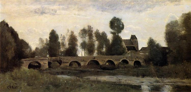 The Bridge at Grez sur Loing, c.1850 - c.1860 - Camille Corot