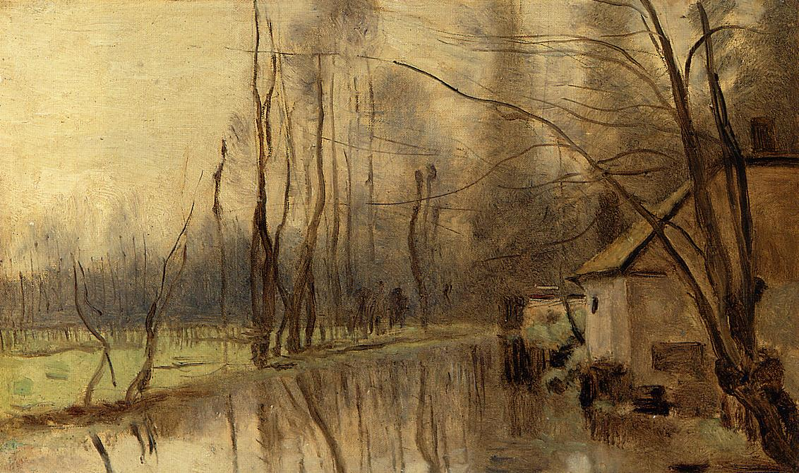 Camille Corot. Voisinlieu, House by the Water. 1860. oil, canvas. Private Collection