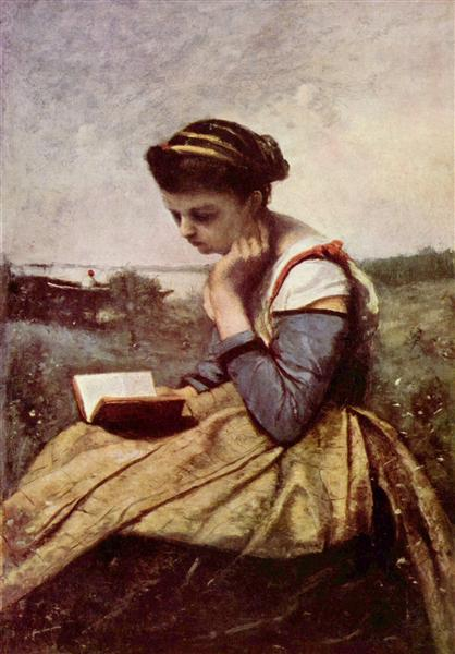Woman Reading in a Landscape, c.1869 - Camille Corot