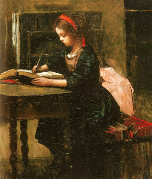 Young Girl Learning to Write - Camille Corot