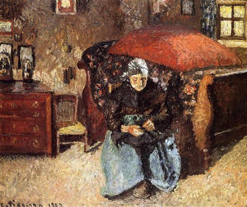 Elderly Woman Mending Old Clothes, Moret - Camille Pissarro