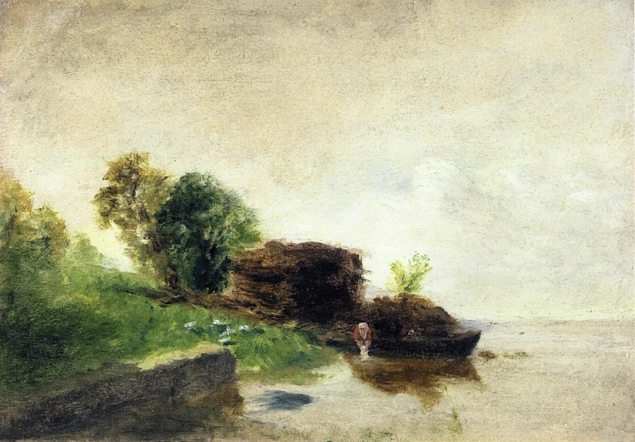 Laundress on the Banks of the River, 1855