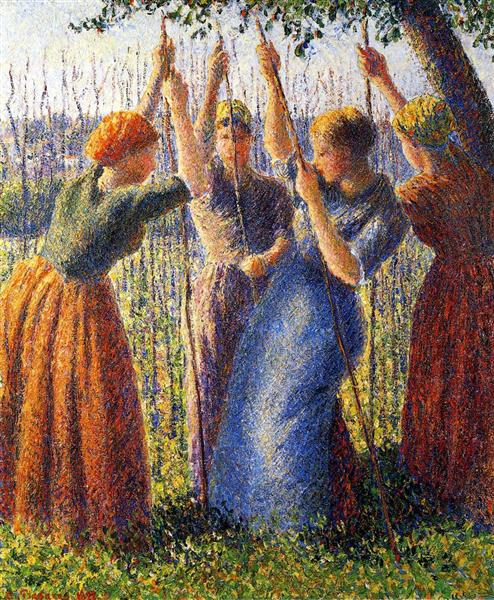 Peasant Women Planting Stakes - Camille Pissarro