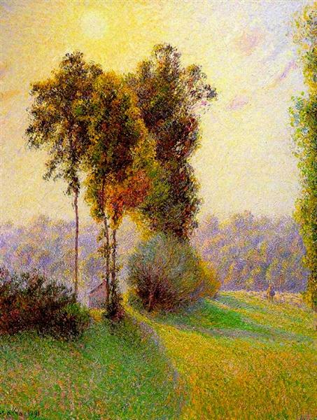 Sunset at Sent Charlez. Eragny, 1891 - Camille Pissarro