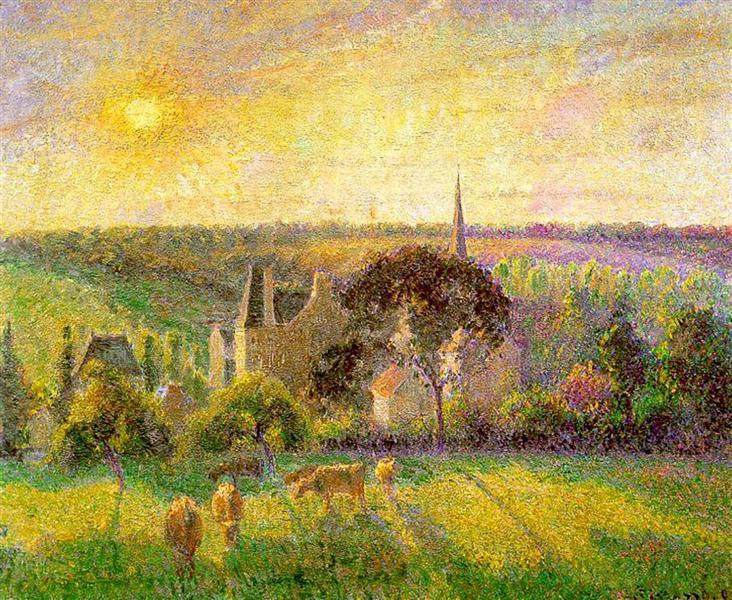 The Church and Farm of Eragny, 1895 - Camille Pissarro