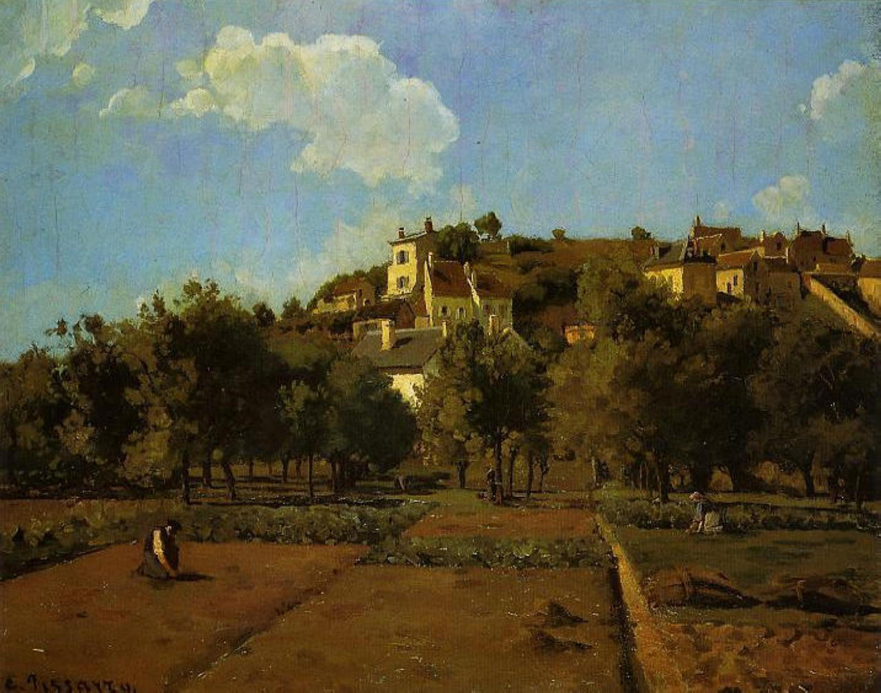 The Gardens of l'Hermitage, Pontoise, c.1867 - Camille Pissarro - WikiArt.org