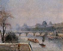The Louvre, Morning, Snow Effect - Camille Pissarro