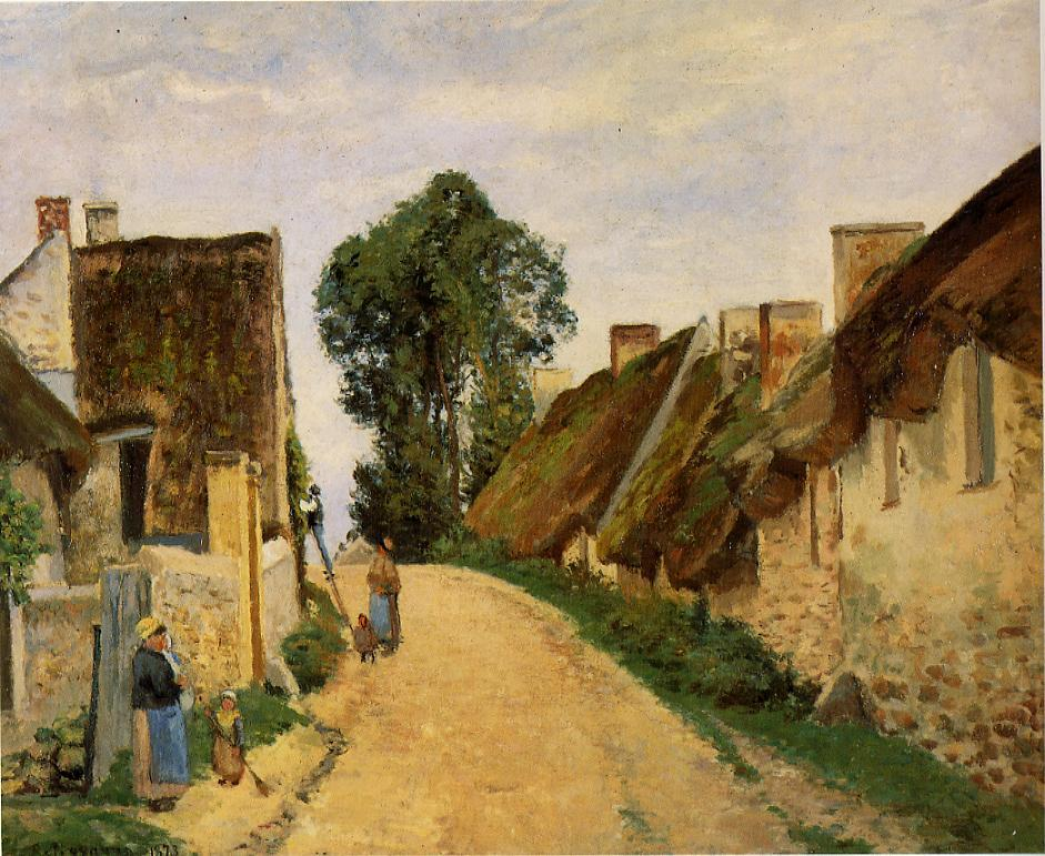 village street auvers sur oise 1873 camille pissarro. Black Bedroom Furniture Sets. Home Design Ideas