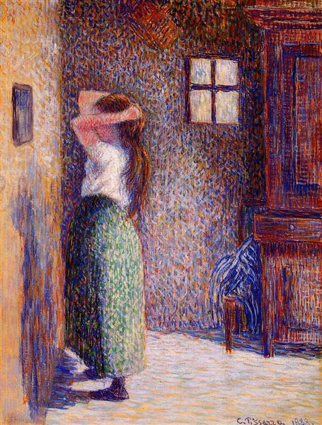 Young Peasant at Her Toilette, 1888 - Camille Pissarro