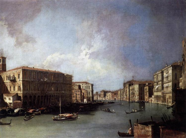 Grand Canal: Looking North from Nethe Rialto Bridge, c.1726 - Canaletto