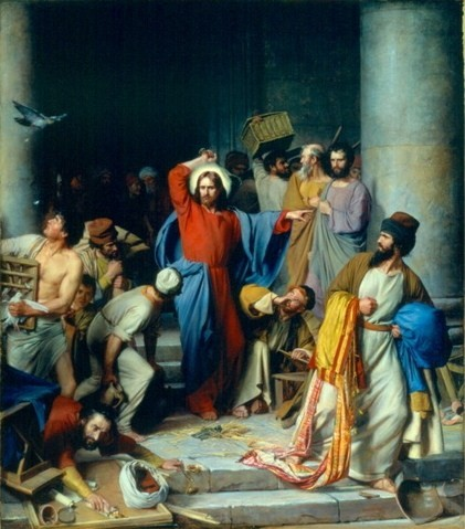 Jesus casting out the money changers at the temple - Carl Bloch