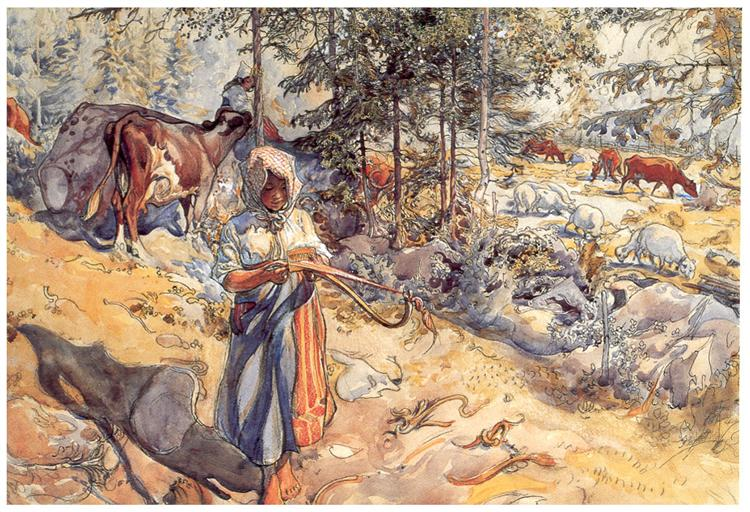 Cowgirl in the meadow, Carl Larsson 1906