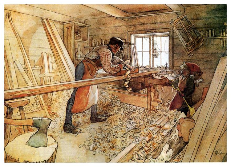 In the Carpenter Shop, 1905 - Карл Ларссон