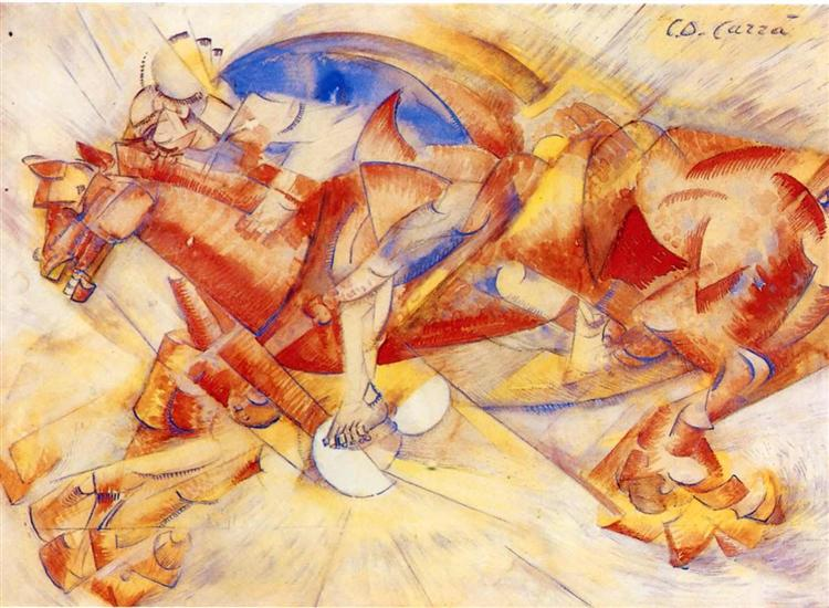 The Red Horseman, 1913 - Carlo Carra