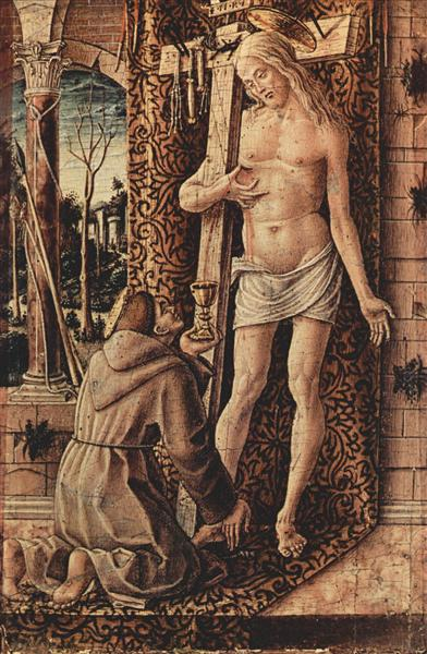 Saint Francis of Assisi catches the blood of Christ from the wounds, 1480 - 1486 - Карло Крівеллі
