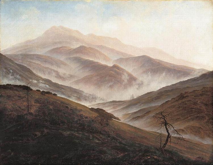 Giant Mountains Landscape with Rising Fog, 1820 - Caspar David Friedrich