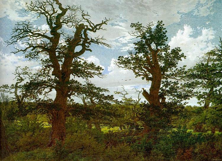 Landscape with Oak Trees and a Hunter, 1811 - Caspar David Friedrich