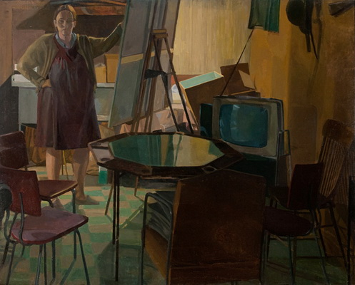 Self Portrait with Poker Table - Catherine Murphy