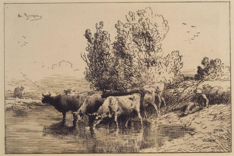 Cows, 1865 - Charles Jacque