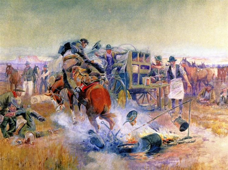Bronc for Breakfast, 1908 - Charles M. Russell