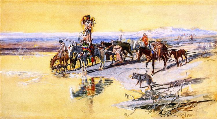 Indians Traveling on Travois, 1903 - Charles M. Russell